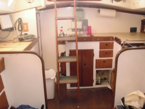 Galley and Navigation Station - On the left of the photo is near where the ice box is situated, not refrigeration but an ice box, which we only use for storage because it does stay cold with ice!  That will soon be our dedicated navigation station.  We somehow still need to find room for a refrigerator/freezer combo (think dorm fridge size) in the galley.