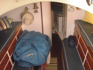 This is our main living area below deck, at this point there are 12 drawers for all of our belongings, food, and tools.  The goal is to remove the right side berth and make that more of a dinette type area.  We shall see!