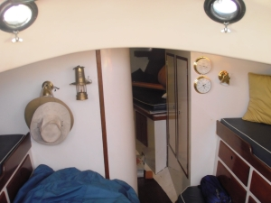 Another view of below deck, behind the white wall is the head, to the left our storage lockers, and straight ahead is the V-berth (better known as the master suite!
