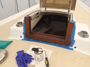 Forward hatch after first coat of varnish