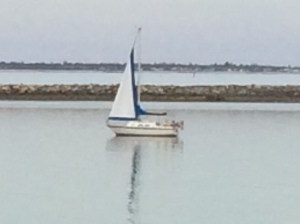 Brian out sailing with no wind, so maybe more like a spring time float