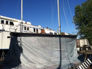 Scout wearing her full dress for the soda blasting of the hull in September 2013