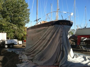 September 2013, Scout draped for the soda blasting of the hull