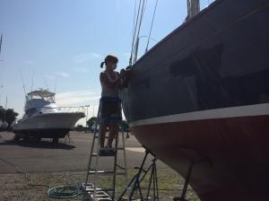 Tara sanding Starboard Side