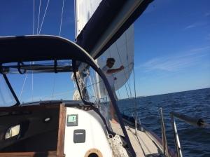 Brian on shakedown sail