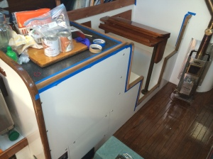 Another view of the dinette and bookshelf awaiting a coat of varnish.