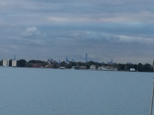 Manhattan Skyline from our anchorage in City Island