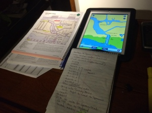 A combination of resources to plan the trip, steno book, anchorage guide, and iPad with Navionics.  Also on the iPad are a few other apps that make the trips a little easier.