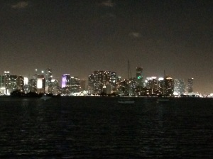 This is the nighttime skyline of Miami we saw from our anchorage in Marine Stadium
