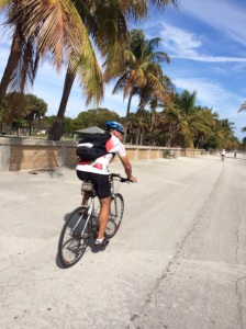 Brian biking along the beach in Key Biscayne