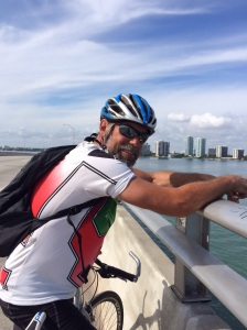 Brian on the bridge to Key Biscayne