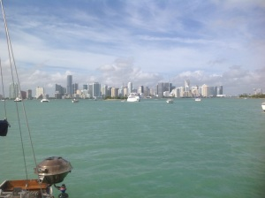 The same view of Miami's skyline from Marine Stadium