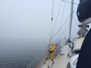 Foggy morning sail from Stonington, CT to Block Island