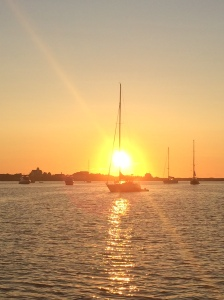 Our first sunset in Block Island from the deck of Scout