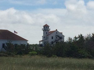 US Coast Guard Station viewed from the beach along the Great Salt Pond Channel