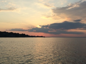 Sunset from the outer harbor at Fishers Island
