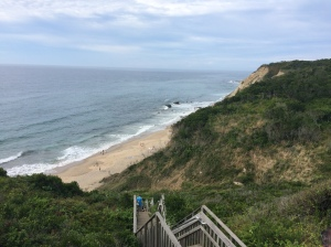 The stairs down to the beach at the Mohegan Bluffs.  It is so easy going down but exhausting climbing back up