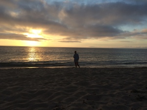 Enjoying our sunset picnic at the beach