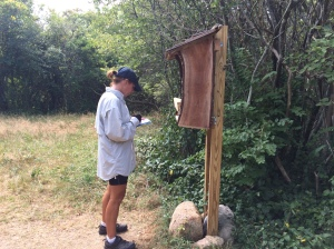Signing the guest book at the Greenway Nature Preserve