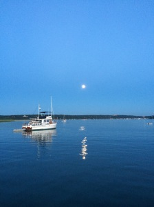The full moon enjoyed while in Conscience Bay in Port Jefferson, NY. Still a favorite anchorage