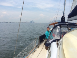 Tara sailing towards Sandy Hook, NJ with Manhattan in the back ground