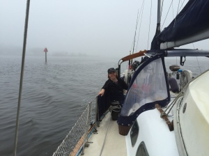 Leaving Miles Hammock Anchorage in pea soup fog