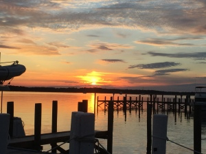 Sunset off the dock at The River Forest Marina in Belhaven, NC.  Happy Halloween