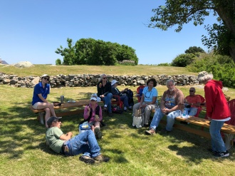 The volunteer group relaxing in the shade for our lunch break
