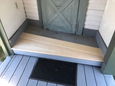 The new boards perfectly cut for the kitchen porch
