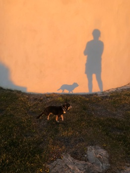Shadow figure fun awaiting sunset