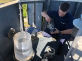USCG Austin fixing the emergency light on tower