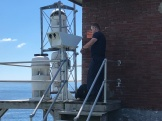 USCG Otis working on fog horn