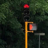 This traffic light is at a street intersection, I have never seen one with the bike outline in the lens. Yes, it is there for the yellow and green lights as well