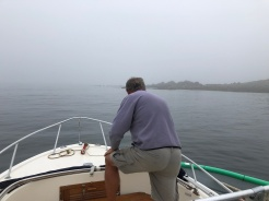 Brian dropping the mooring pennant this morning as we were leaving to go to Salem